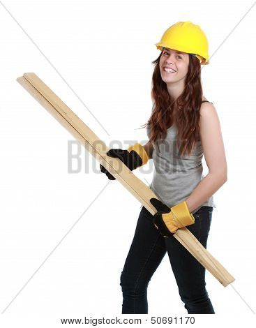 Girl Holding Wood Plank