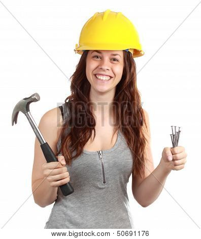 Girl Holding Nails And Hammer