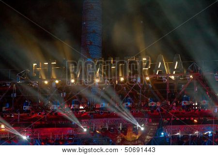 scene Bike show Stalingrad with the lights made from a large old gantry crane