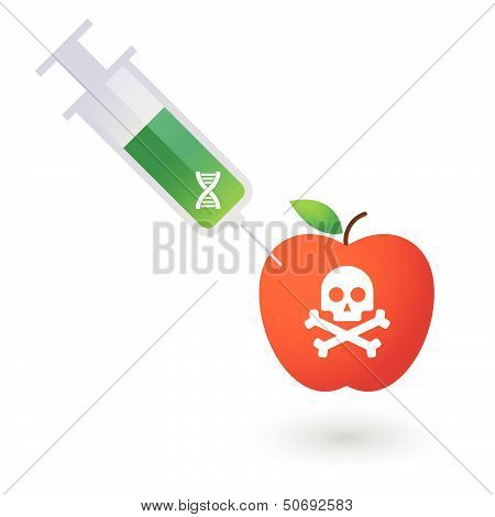 Illustration of an apple with a syringe and a skull
