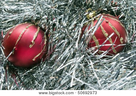 Red Balls In Tinsel