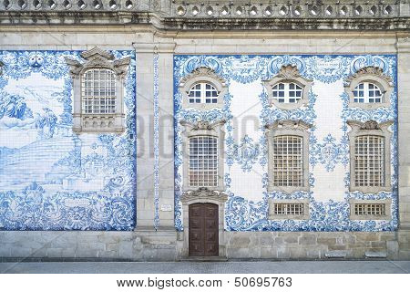 Traditional Tiled Church In Central Porto Portugal