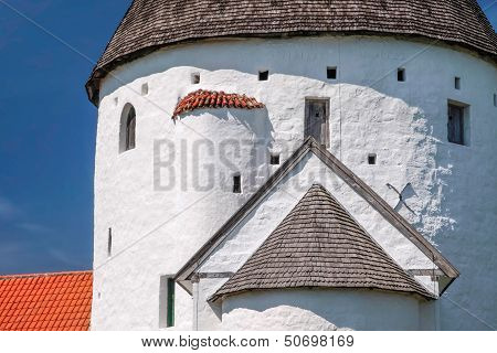 Spire Of The Round Church Of St. Ols Kirke On Bornholm