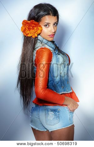 Attractive Multiethnic Girl Posing.