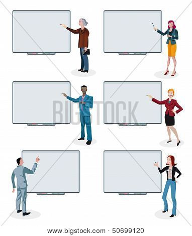 Business People And Empty Interactive Whiteboards
