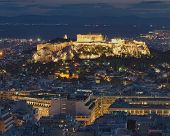 Acropolis and Athens cityscape night view