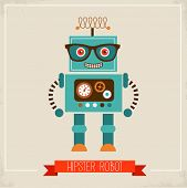 image of robotics  - Hipster robot toy icon and illustration - JPG