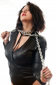 picture of sado-masochism  - seductive young girl holding a steel chain on a white background - JPG