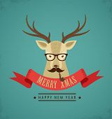 picture of mustache  - Christmas background and greeting card with hipster deer - JPG