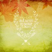 Autumn in your town - Fall background, with autumn leaves and doodle style hand drawn insignia for p