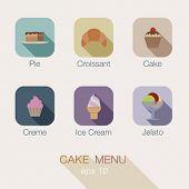 foto of gelato  - Cake Sweet Candy shop vector icon menu design - JPG