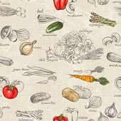 Seamless kitchen background of vegetables, vector illustration in vintage style.