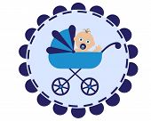 stock photo of pacifier  - icon with the image of a blue stroller and sitting in her baby with pacifier - JPG