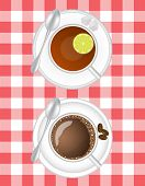 pic of chocolate spoon  - coffee and tea with lemon in a white cup on a saucer with a spoon on a table cloth background - JPG