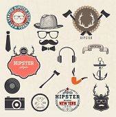 stock photo of mustache  - Hipster style design elements and icons set - JPG