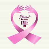 stock photo of  breasts  - Breast cancer awareness ribbon element text made with human hands - JPG