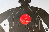 picture of bullet  - View of bullet holes in the target - JPG