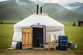 stock photo of yurt  - Picture of typical Mongolian Yurt in Mongolia - JPG