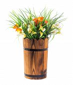 stock photo of calla  - Bouquet of calla lily and grass in wood bucket isolated on white - JPG