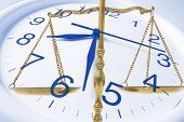 stock photo of pro-life  - Composite of Clock and Brass Scale Close Up - JPG