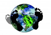 image of stewardship  - The earth shadowed by the footprints of humanity - JPG