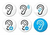 Ear hearing aid deaf problem icons set