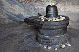stock photo of lingam  - monolith shiva lingam in the cave india - JPG