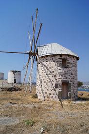 image of gumbet  - Aegean style old mills in Bodrum Turkey - JPG