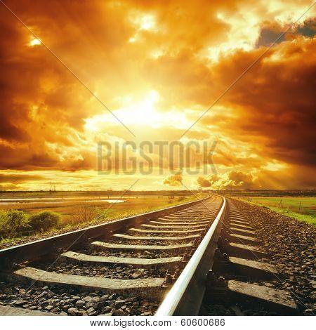 dramatic sky and railroad