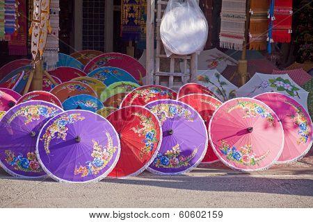 Shop With Colored Umbrellas
