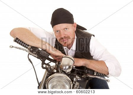 Man Bandana Motorcycle Arms On Handlebars