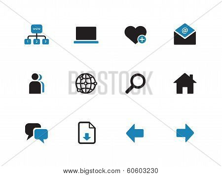 Network duotone icons on white background.