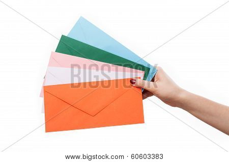 Hand With Colourful Envelopes