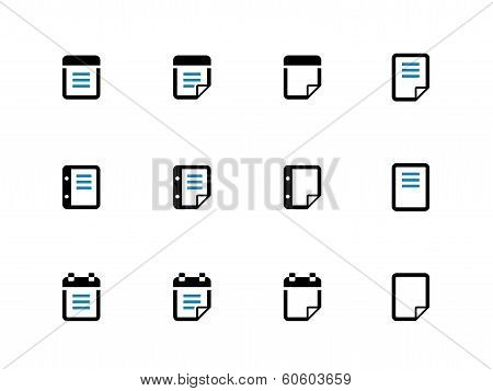 Notepad and sticky note duotone icon set.