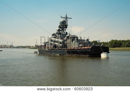 Russian warship of Kaspian flotilla.
