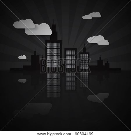 Night City Scape Illustration with Paper Clouds