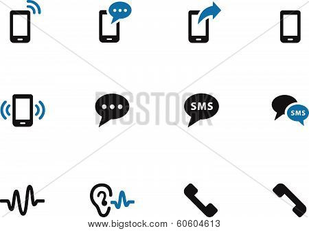 Phone duotone icons on white background.