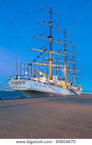 GDYNIA, POLAND - FEB 17: Polish sail training ship