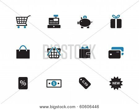 Shopping duotone icons on white background.
