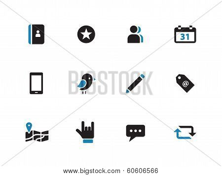 Social duotone icons on white background.