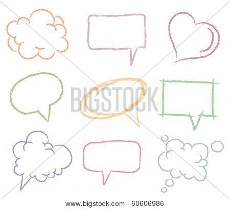 Doodle sketch speech bubbles