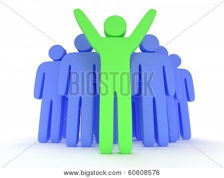 Group of stylized blue people and green teamleader