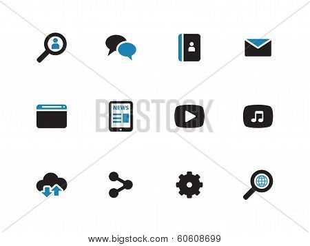 Web duotone icons on white background.