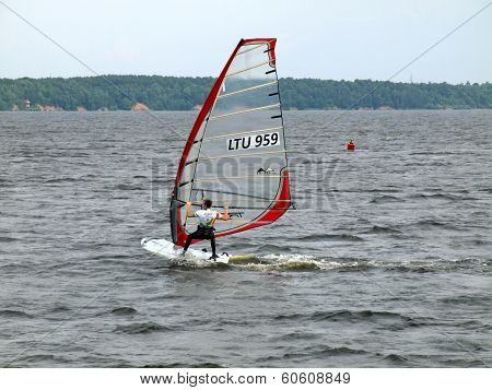 Windsurfer At Kaunas Sea On June 14, 2013 In Kaunas, Lithuania