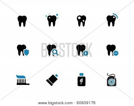 Tooth, teeth duotone icons on white background.