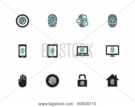 Fingerprint duotone icons on white background.