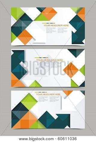 Vector Template Design With Cubes And Arrows Elements.