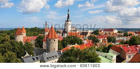 Panoramic View Of Old Tallinn Lower Town. Estonia