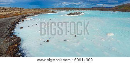 The blue lagoon geothermal bath.
