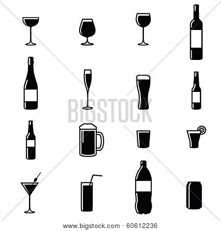 Set Of Sixteen Drinks Illustrations
